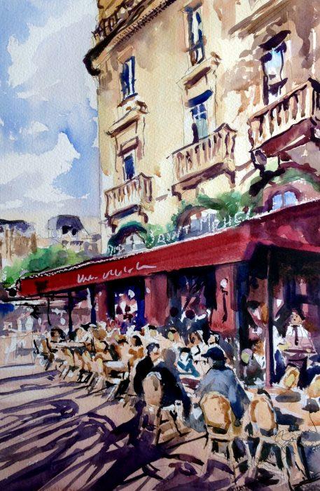 paris cafe watercolour